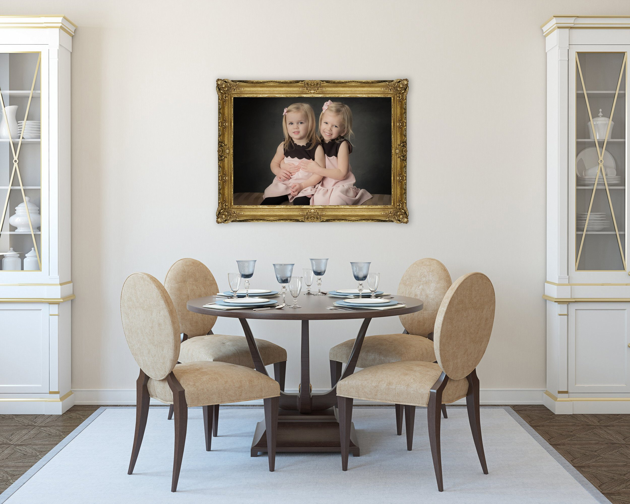 Modern dining-room interior.3d render.