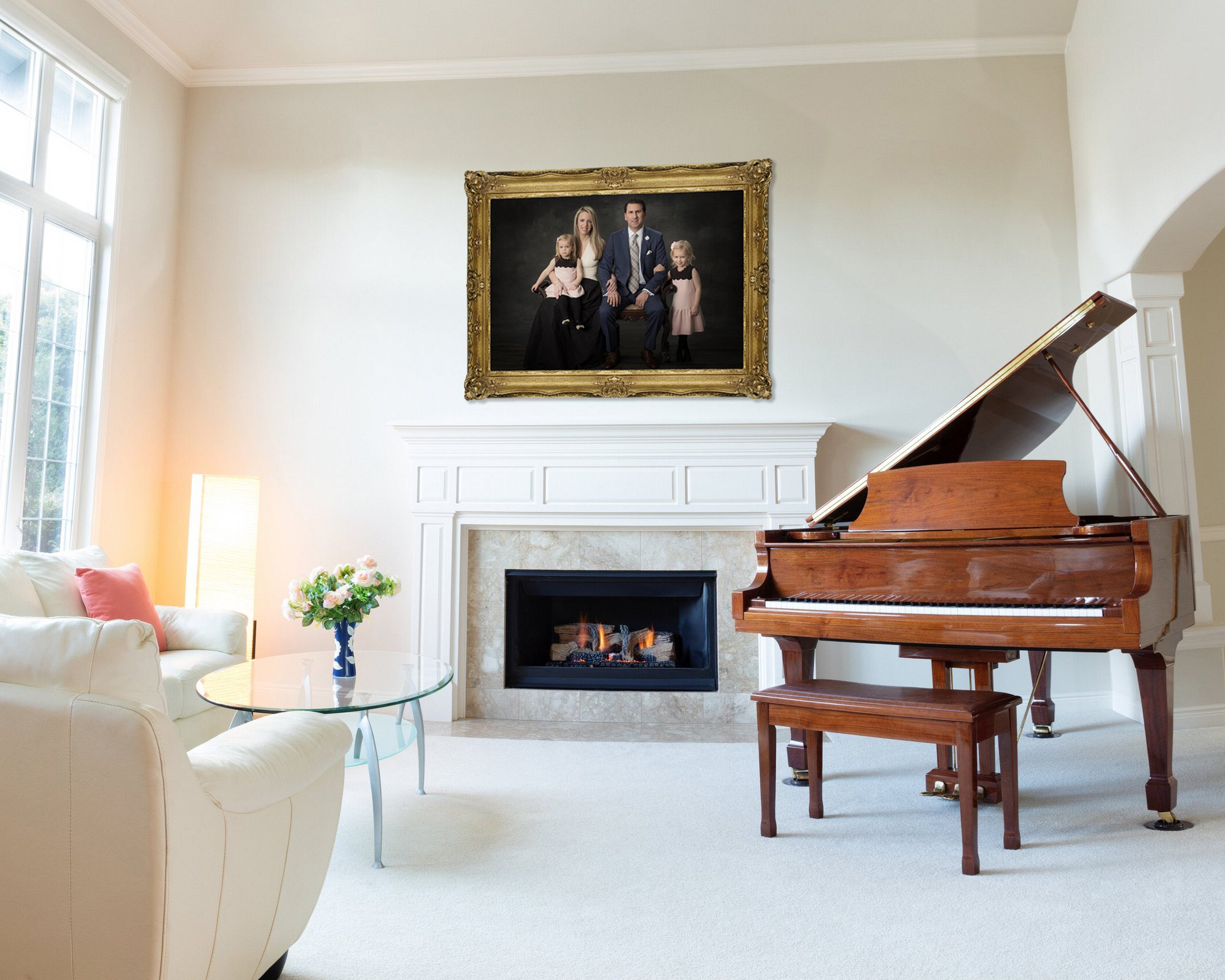 Bright day light coming into living room with burning fireplace, grand piano and white leather sofa.